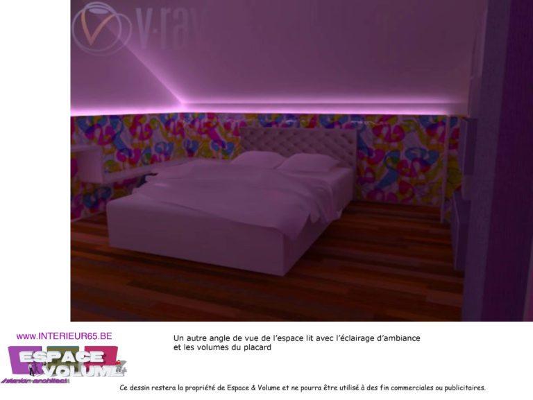 Architecture d'intérieur, lit avec éclairage d'ambiance et volumes placard