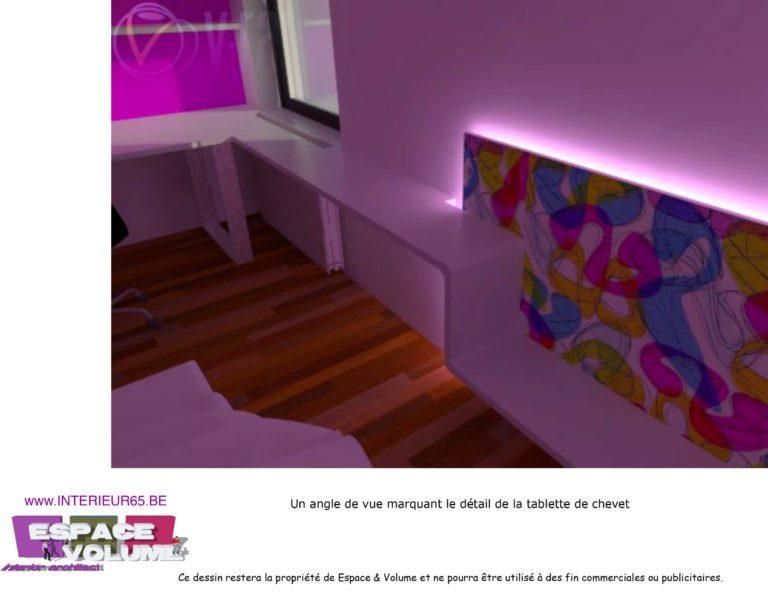 Architecte d'intérieur, vue détail tablette de chevet